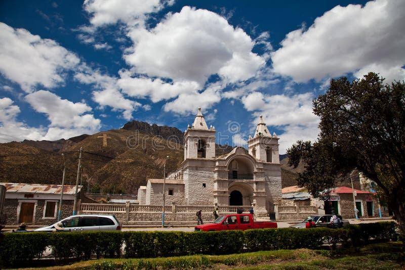 De Kerk van het Dorp van Chivay stock foto's