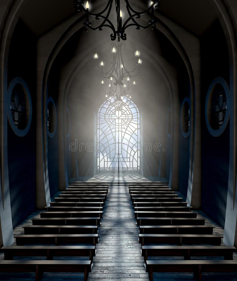 De Kerk van het gebrandschilderd glasvenster vector illustratie