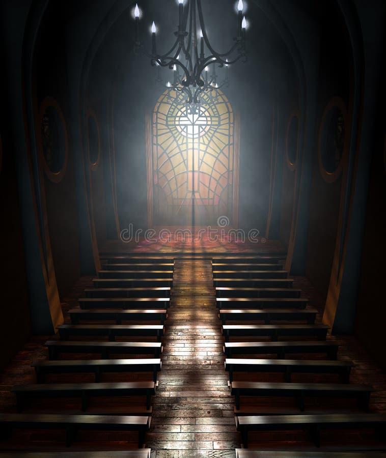 De Kerk van het gebrandschilderd glasvenster royalty-vrije illustratie