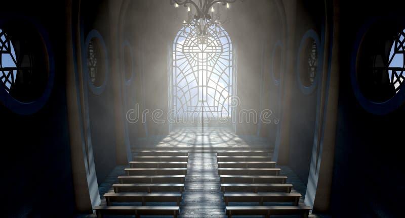 De Kerk van het gebrandschilderd glasvenster stock illustratie