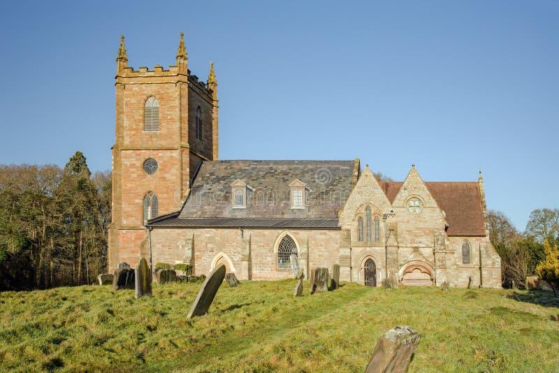 De Kerk van het Hanburydorp, Engeland stock foto's