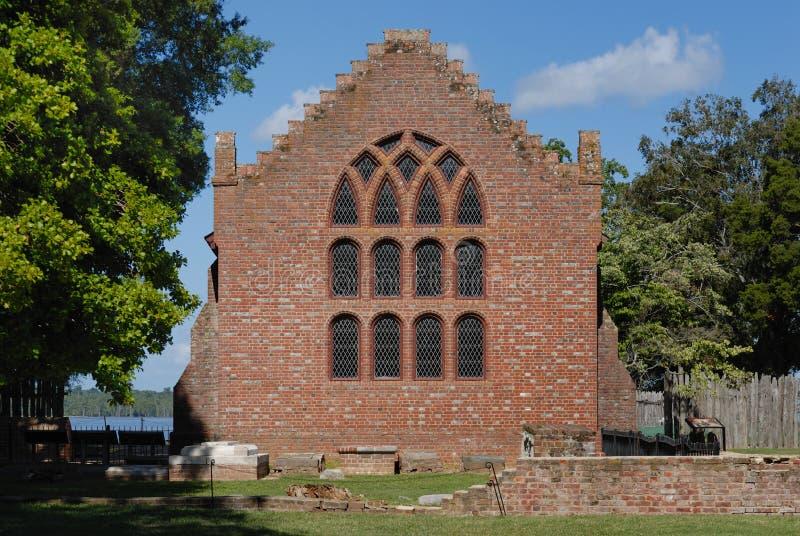De kerk van Jamestown stock afbeeldingen