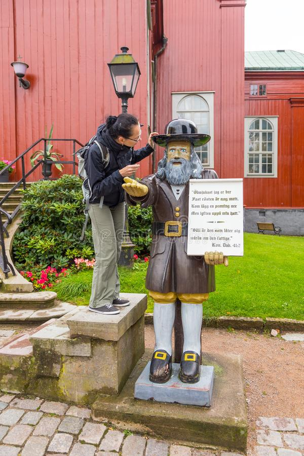 De Kerk van Karlskronaadmiraliteit het houten cijfer Rosenbom, Zweden royalty-vrije stock fotografie