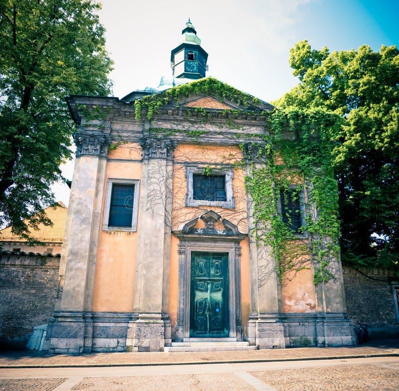 De kerk van Krizanke in Ljubljana royalty-vrije stock fotografie