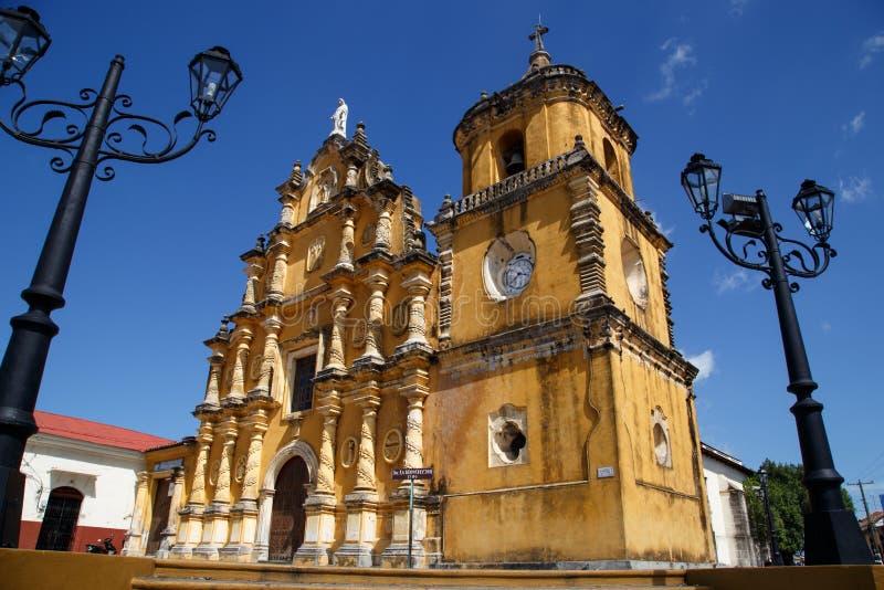 De Kerk van La Recoleccion van Leon, Nicaragua stock fotografie
