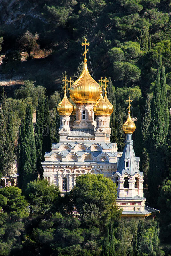 De kerk van Mary Magdalene in Jeruzalem, Israël. royalty-vrije stock foto's