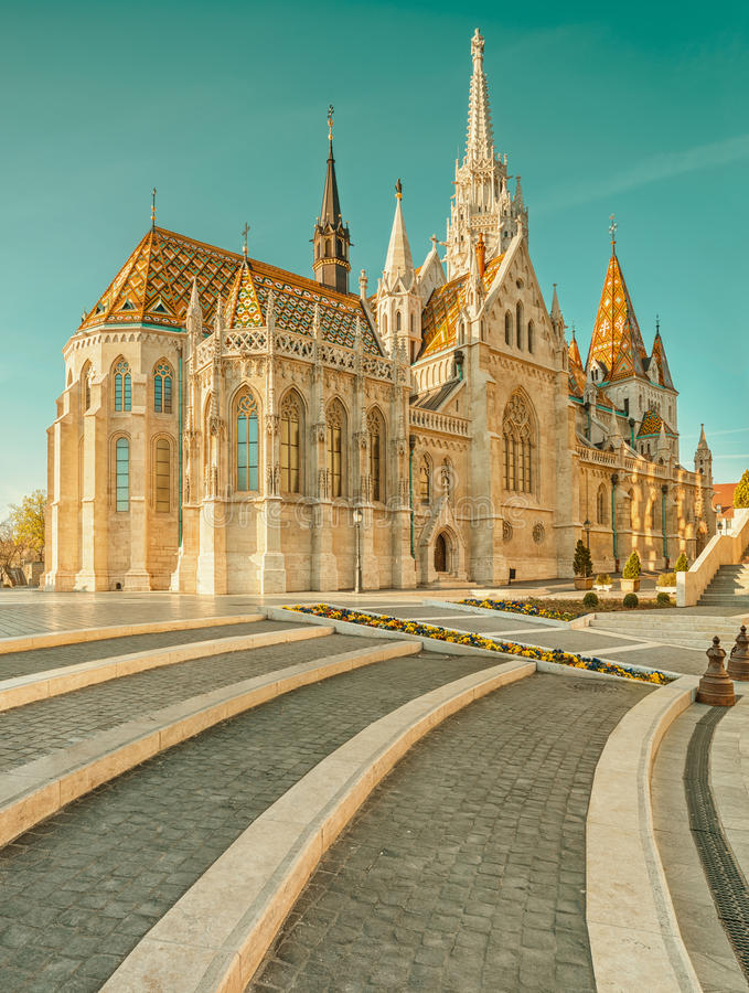 De kerk van Matthias in Buda Castle-district, Boedapest, Hongarije royalty-vrije stock foto