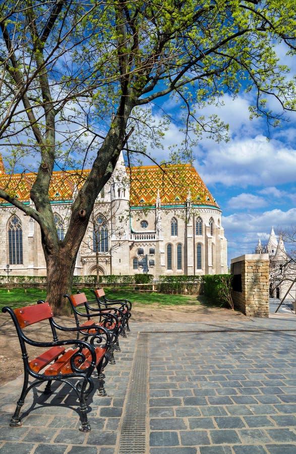 De kerk van Matthias in Buda Castle-district, Boedapest, Hongarije op a royalty-vrije stock foto's