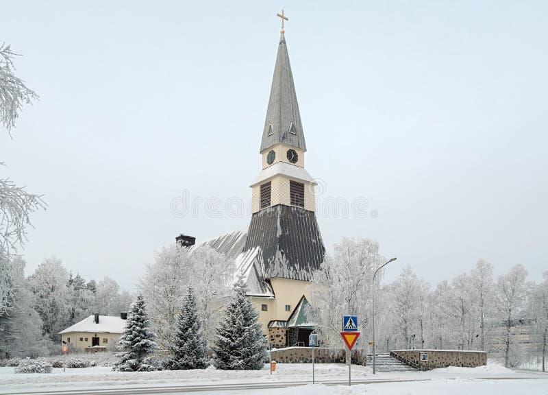 De Kerk van Rovaniemi in de winter, Finland stock afbeeldingen