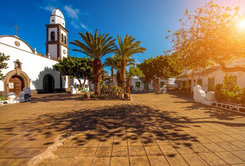 De kerk van San Gines in Arrecife stad op Lanzarote eiland stock afbeelding