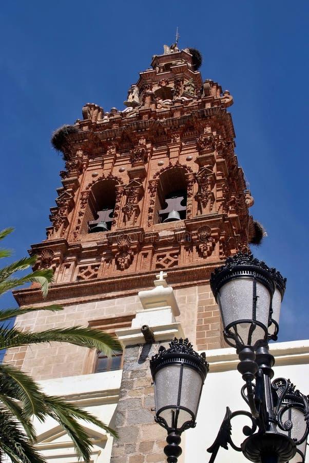 De kerk van San Michael in Jerez DE los Caballeros, Extremadura - Spanje stock afbeelding