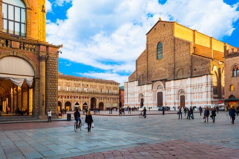De kerk van San Petronio in Piazza Maggiore in Bologna, Itali? royalty-vrije stock fotografie