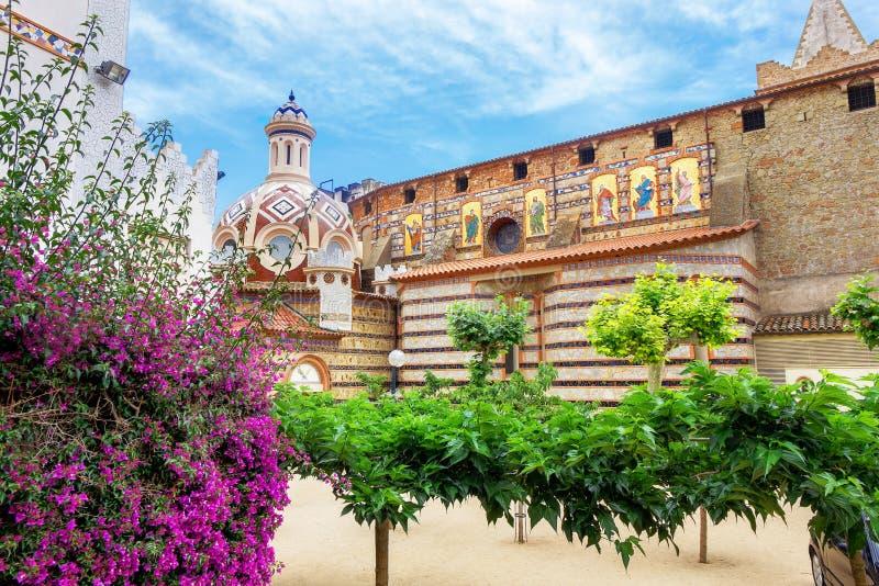 De kerk van Santrome, Lloret de Mar Costa Brava, Catalonië, Spanje stock afbeeldingen