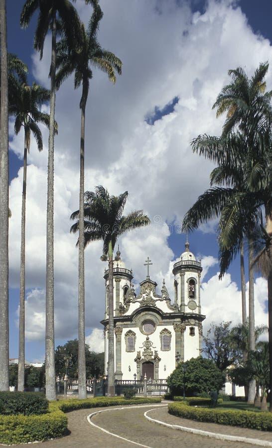 De kerk van Sao Francisco de Assis in Sao Joao del Rey, staat stock afbeeldingen