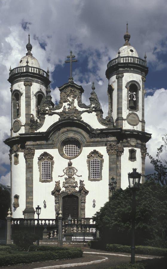De kerk van Sao Francisco de Assis in Sao Joao del Rey, staat van Minas Gerais, Brazilië royalty-vrije stock foto's