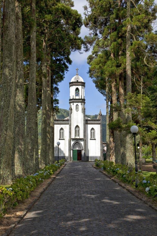 De kerk van Saonicolau in Sete Cidades, Ponta Delgada, de Azoren stock foto