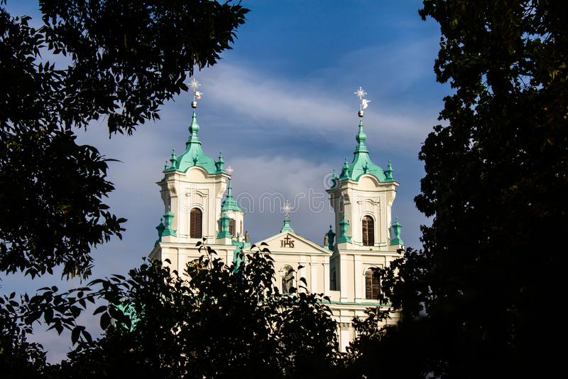 De Kerk van St frantiÅ ¡ ek Xavier in Grodno stock afbeeldingen