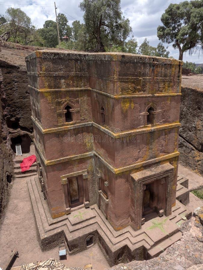 De kerk van St George, is gesneden in de rots, Lalibela, Ethiopië royalty-vrije stock fotografie