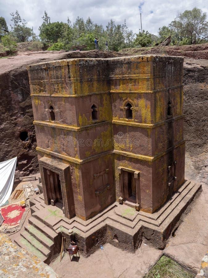 De kerk van St George, is gesneden in de rots, Lalibela, Ethiopië stock afbeeldingen