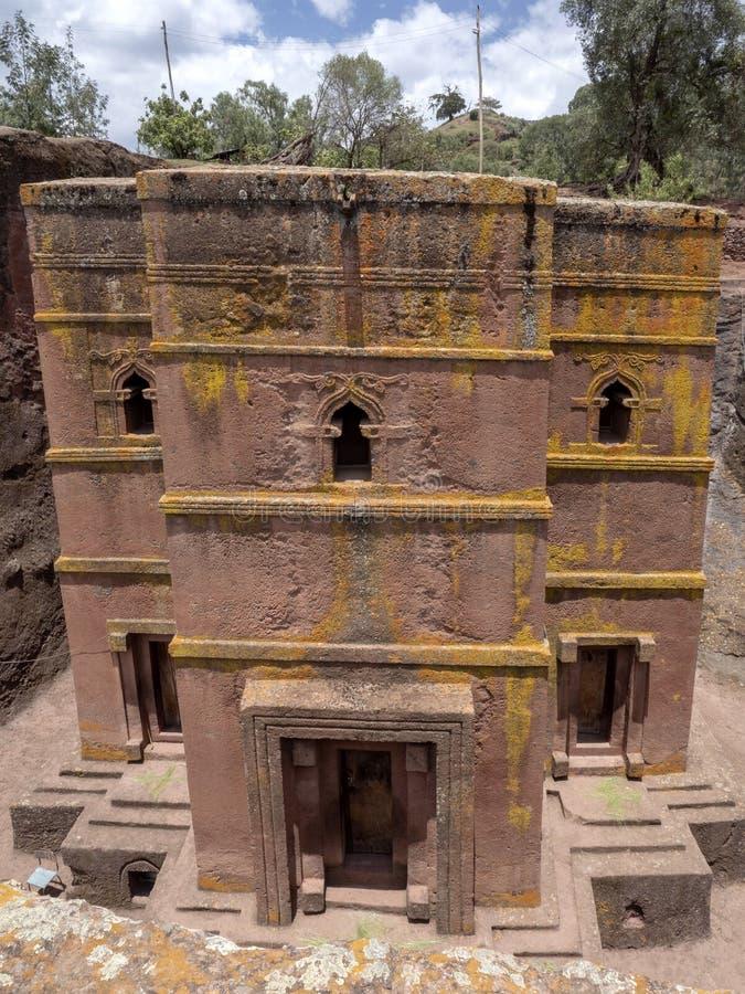 De kerk van St George, is gesneden in de rots, Lalibela, Ethiopië stock foto