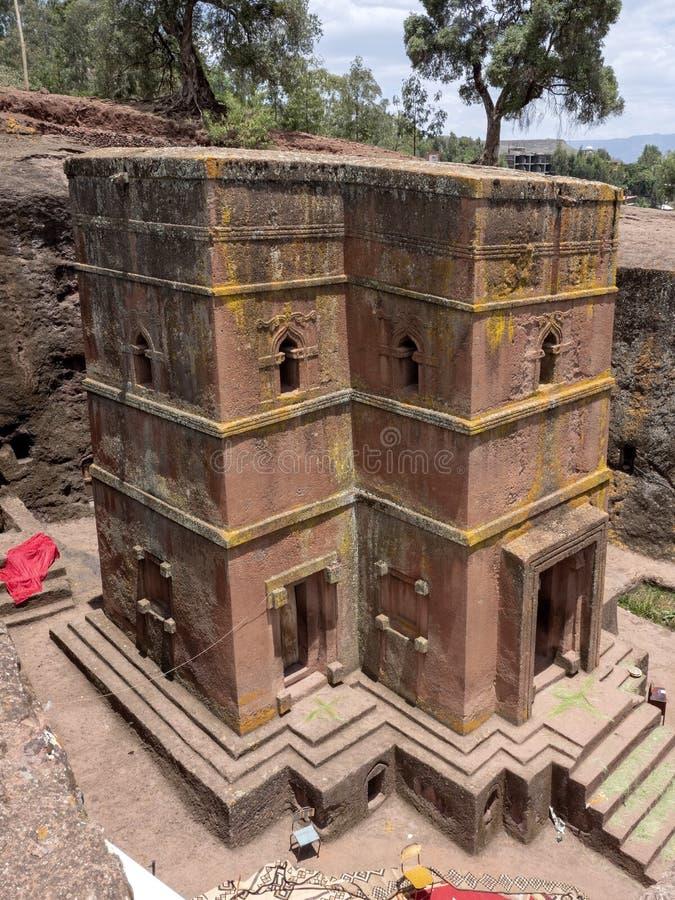 De kerk van St George, is gesneden in de rots, Lalibela, Ethiopië stock foto's