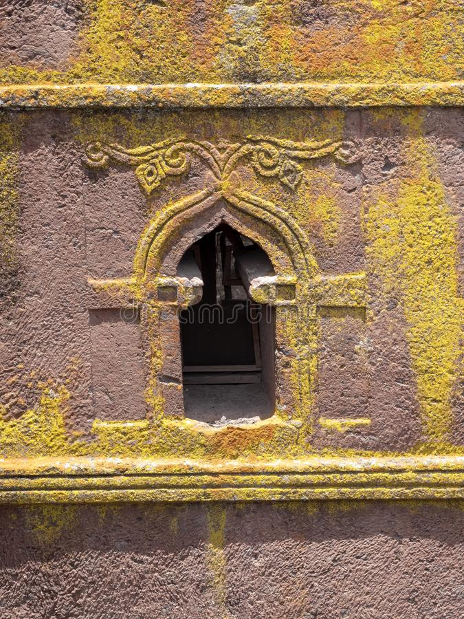De kerk van St George, is gesneden in de rots, Lalibela, Ethiopië royalty-vrije stock foto's