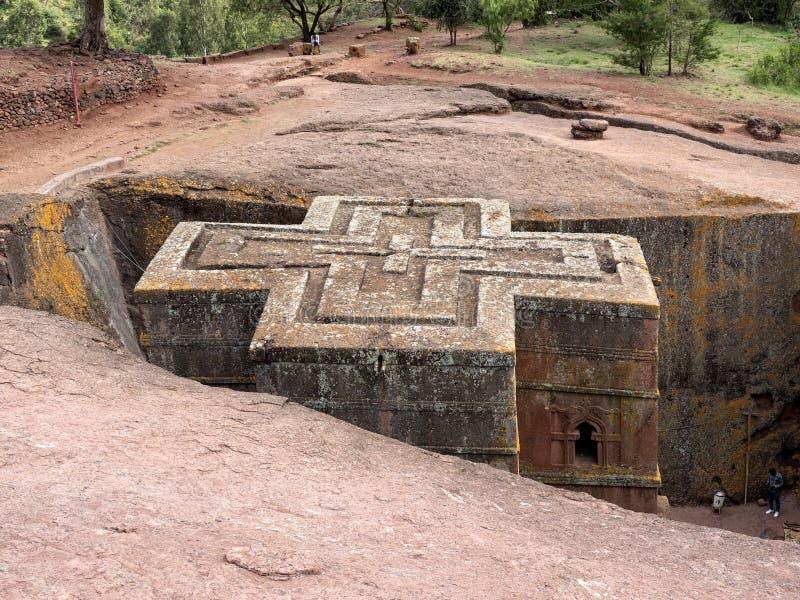 De kerk van St George, is gesneden in de rots, Lalibela, Ethiopië stock afbeelding