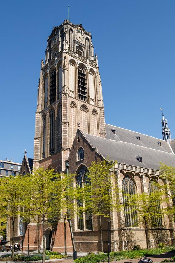De Kerk van St Lawrence (Grote van sint-Laurenskerk, 1449-1525) is een Protestantse Kerk in het centrum van Rotterdam Het is onl stock foto