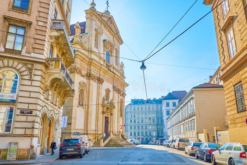 De kerk van St Maria Rotunda in oud Wenen, Oostenrijk stock afbeelding