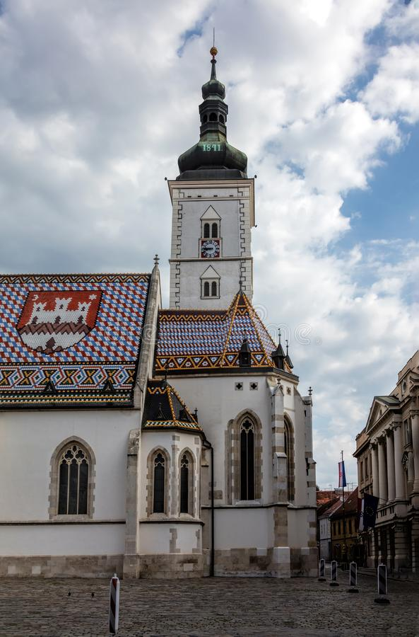 De kerk van St Teken in Zagreb, Kroatië royalty-vrije stock afbeelding