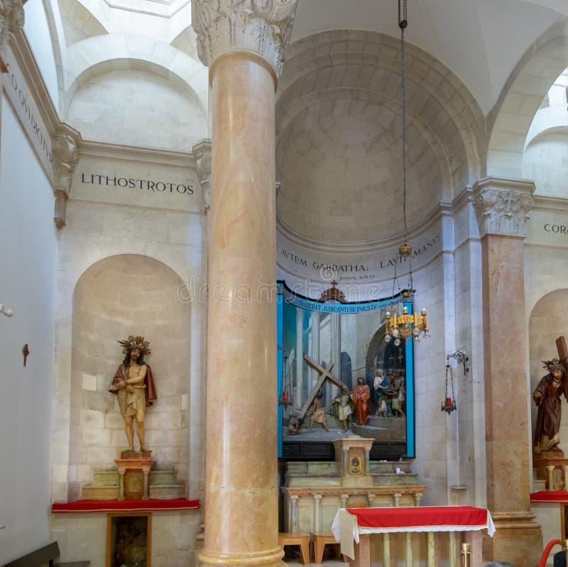 De Kerk van de Veroordeling en de Heffing van het Kruis in het Moslimkwart van de Oude Stad van Jeruzalem, Isra?l wordt gevestigd royalty-vrije stock fotografie