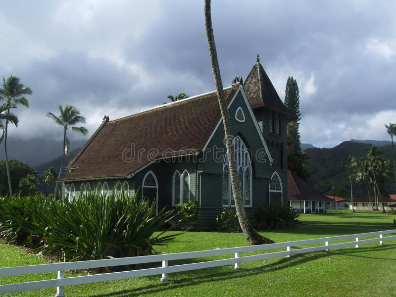 De kerk van Waiolihuiia in Hanalei, Kauai, Hawaï stock foto