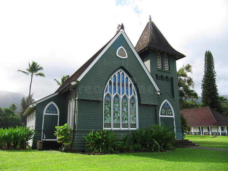 De kerk van Waiolihuiia in Hanalei, Kauai, Hawaï royalty-vrije stock foto's