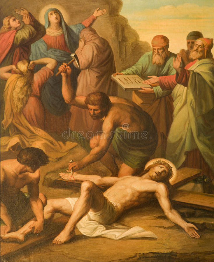 De kerk van Wenen - crucifxiction royalty-vrije stock foto's