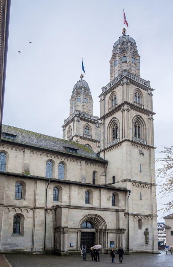 De Kerk van Zürich Zwitserland Grossmunster stock fotografie