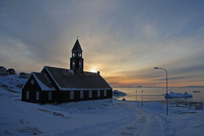 De Kerk van Zion, Ilulissat, Groenland stock foto