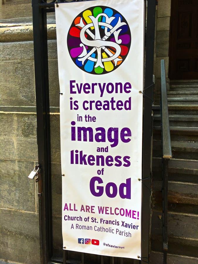 De kerk welkom teken van heilige Francis Xavier stock foto