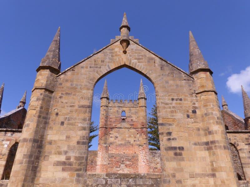 De kerkbouw bij Haven Arthur Tasmania stock foto's