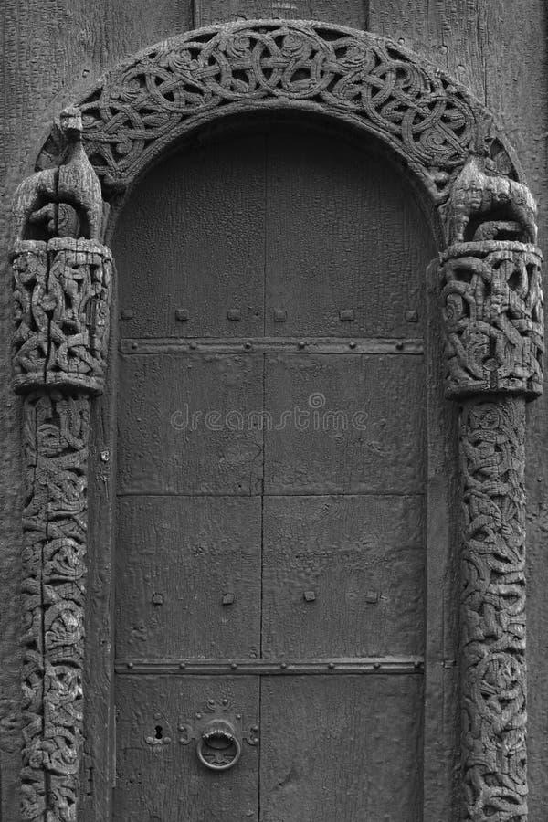 De kerkdetail van de Lom middeleeuws staaf Viking-symbool Het toerisme van Noorwegen stock fotografie