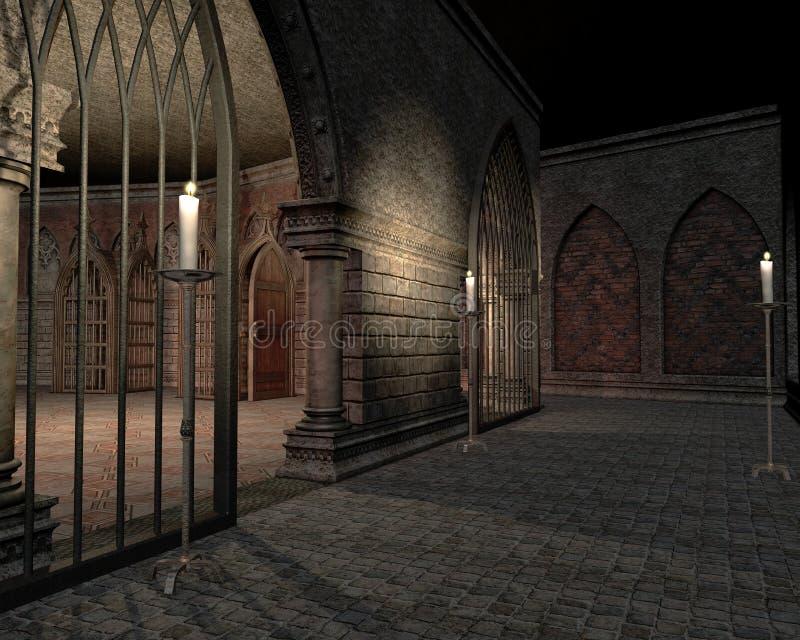 De kerker van het kasteel met kaarsen vector illustratie