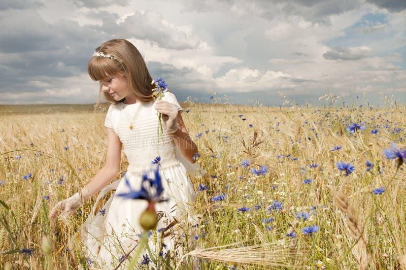 De kerkgemeenschapkleding van het meisje royalty-vrije stock afbeelding