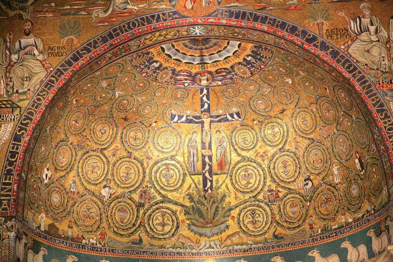 De kerkmozaïek van San Clemente, Rome, Italië stock afbeelding