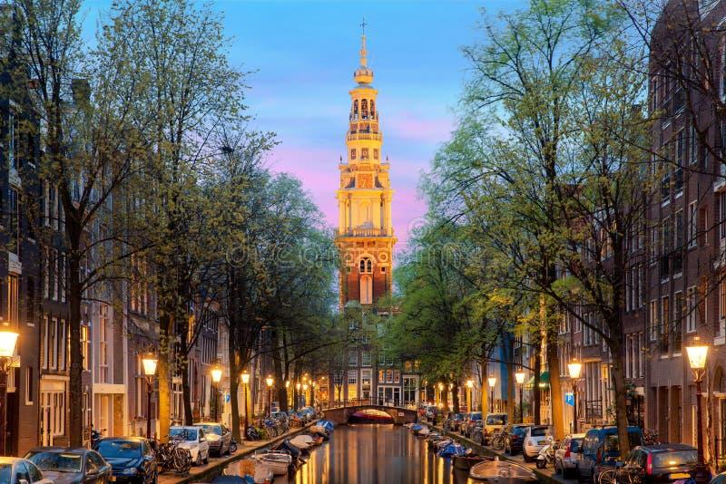 De kerktoren van Amsterdam Zuiderkerk in Amsterdam, Nederland royalty-vrije stock afbeeldingen
