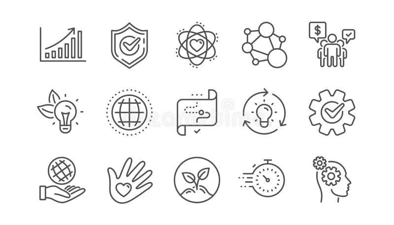 De kern taxeert lijnpictogrammen Integriteit, Doeldoel en Strategie Het helpen van hand, doel Lineaire reeks Vector royalty-vrije illustratie