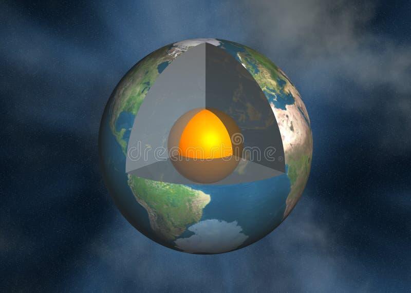 De kern van de aarde, magma royalty-vrije illustratie