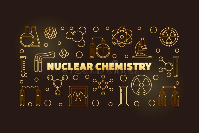 De kernbanner of de illustratie van de Chemie vector gouden lijn royalty-vrije illustratie