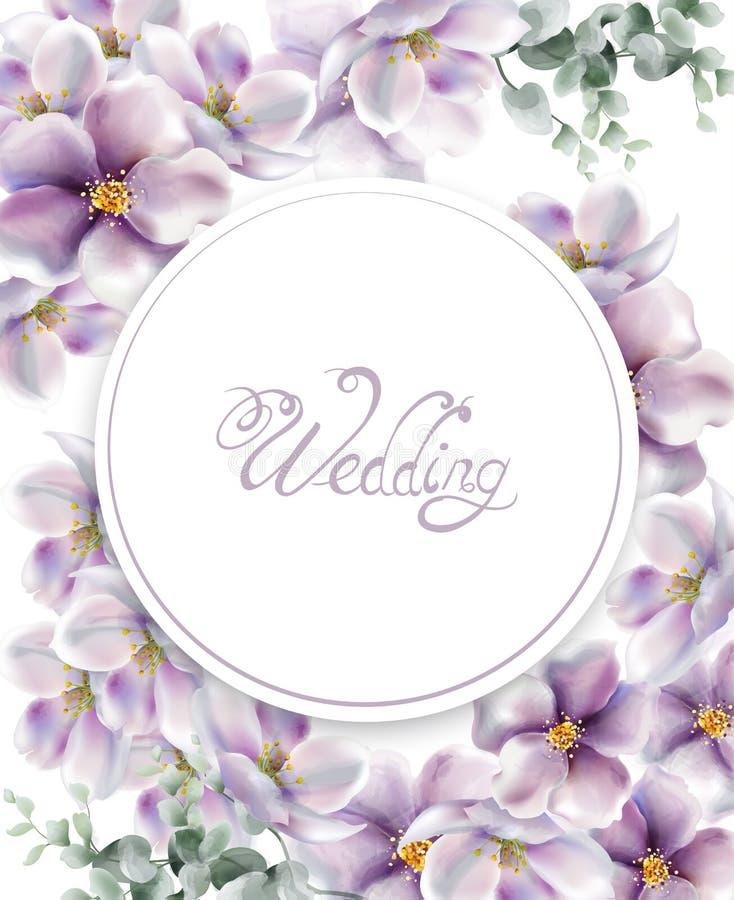 De kers bloeit de waterverfvector van de huwelijkskaart De gevoelige achtergronden van de de lentebloesem stock illustratie