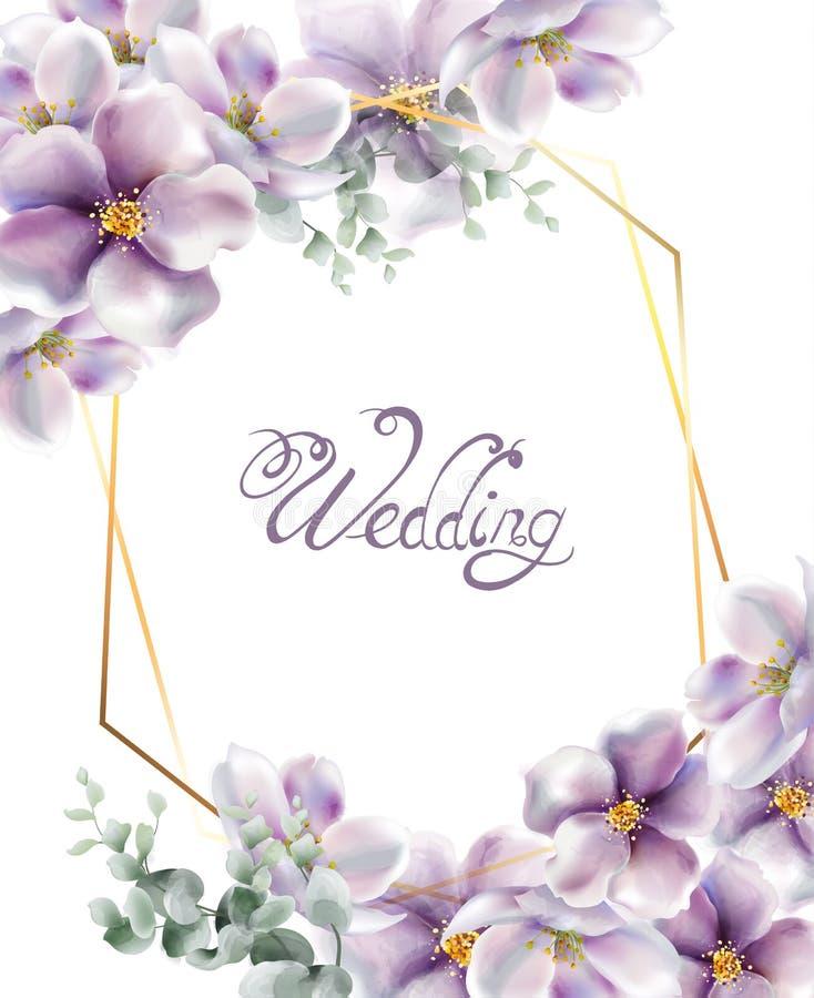 De kers bloeit de waterverfvector van de huwelijkskaart De gevoelige achtergronden van de de lentebloesem vector illustratie