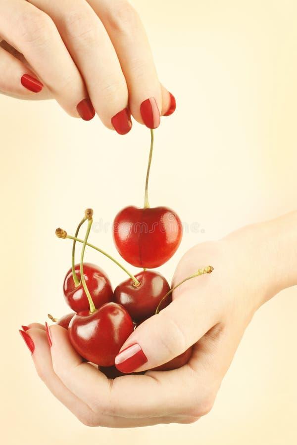 De kers van handen met rode spijkersmanicure stock fotografie
