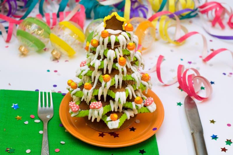 De Kerstboom en het huis van de peperkoek stock fotografie